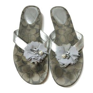 Coach Sandals Serenity Flower Thongs Size 9.5